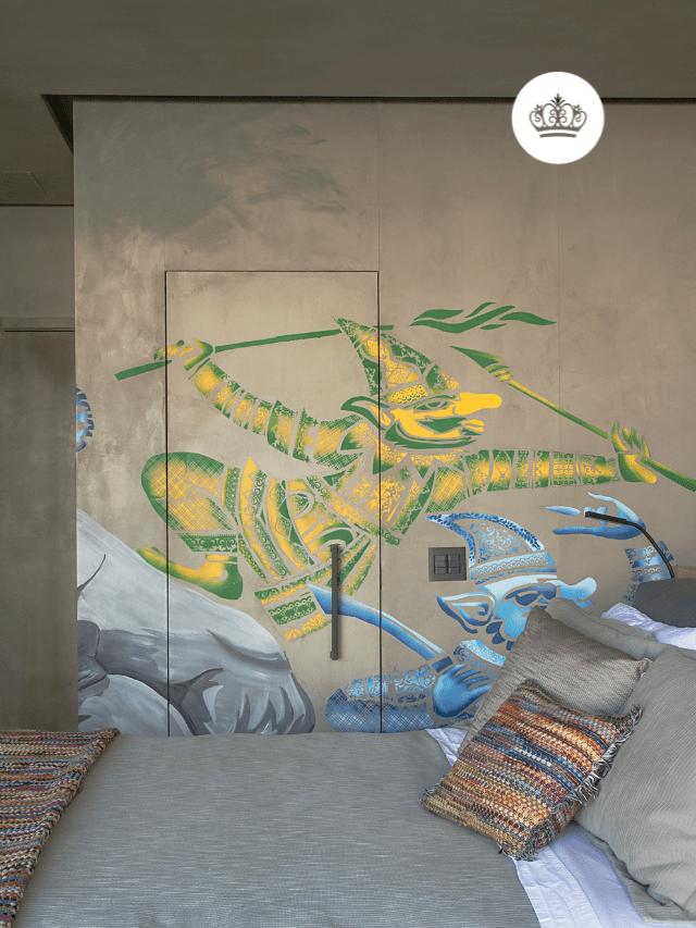 Loft com parede grafitada