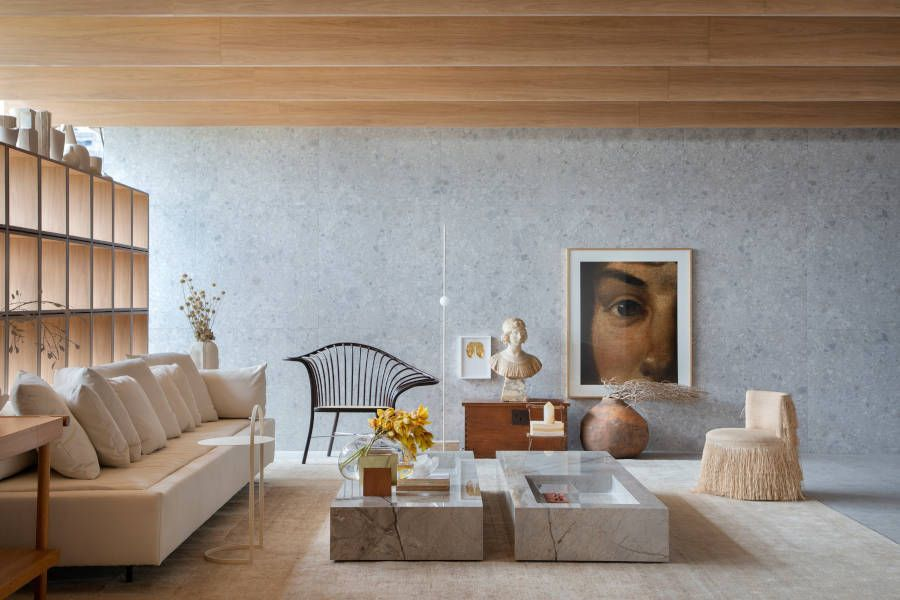 Casa com porcelanato e madeira na CasaCor 2021